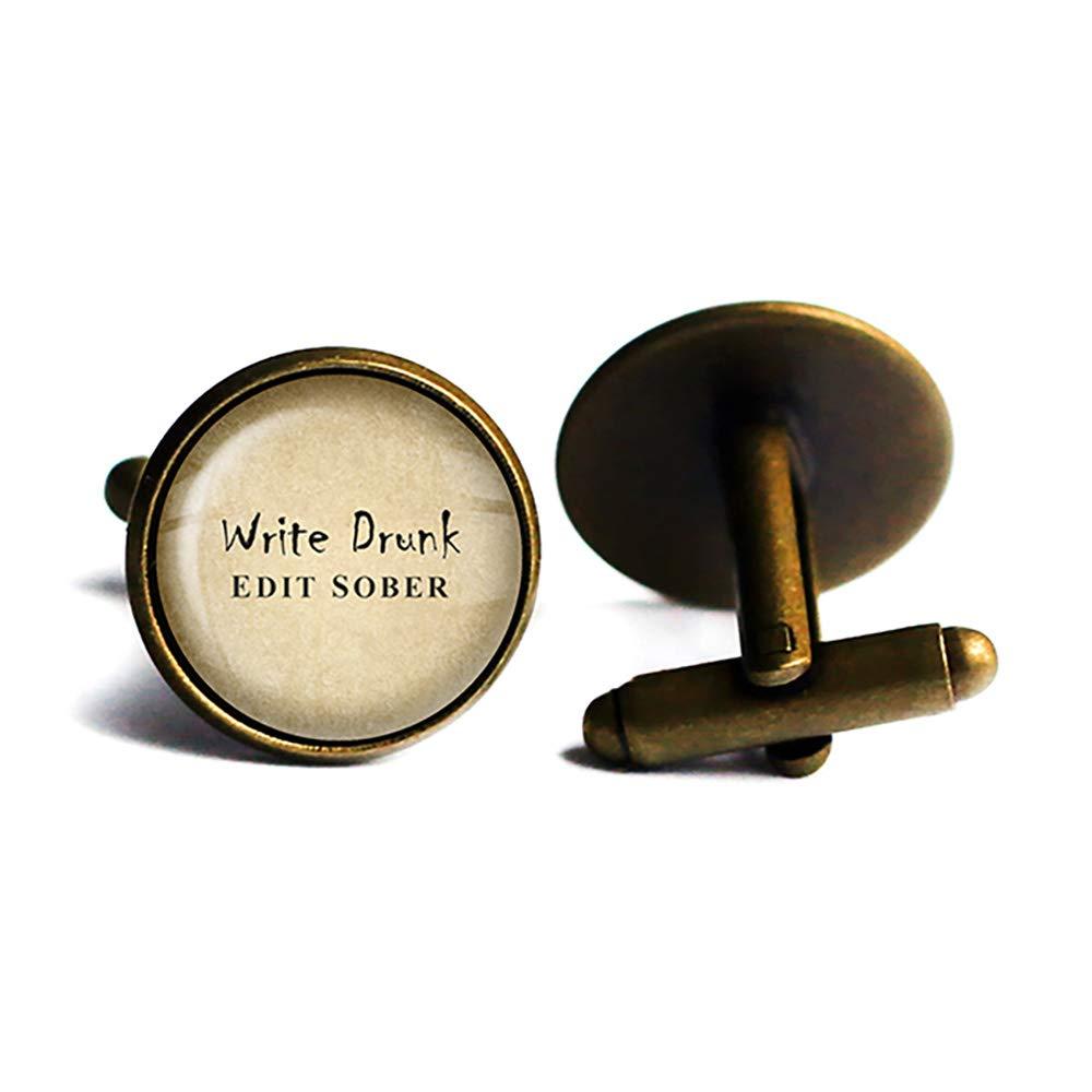 Ernest Hemingway Max 60% Limited time sale OFF Write Drunk Edit Cufflinks Bronze Antique Sober