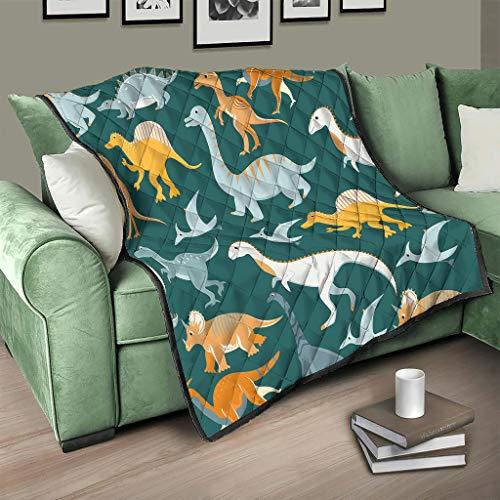 Flowerhome Colcha de dinosaurio para cama o sofá, para dormir, para adultos y niños, color blanco, 173 x 203 cm