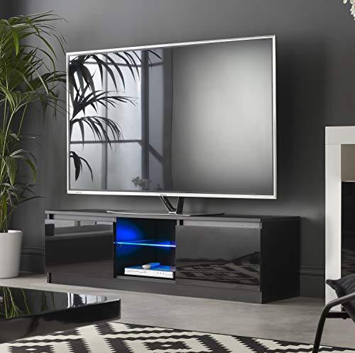 MMT RTV 1200 - Mueble de TV con Luces LED Azules para TV de 40 49 50 Pulgadas 4K de 120 cm de Ancho