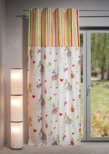 Gardine /Fertigschal mit Ansatz und Saumband - neuartiges Schlaufenband , 140 x 245cm, Grundfarbe weiß - liebevoll gestaltete Tierprints, raffiniert konzeptioniert für ein lebhaftes Kinderzimmer, 100 % Baumwolle, weich fließende, hochwertige Top Qualität von Heco Textilverlag - Finest Art