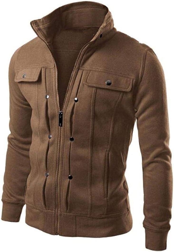 Men Jacket Casual Fashion Zipper Lightweight Outwear Coat Slim Fit Designed Lapel Cardigan Coat Jacket