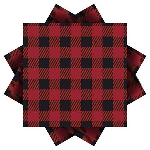 Aneco rot und schwarz kariert Papierservietten für Hochzeit, Party, Geburtstag, Abendessen, Mittagessen mit 3 Schichten, 16,5 x 16,5 cm rot