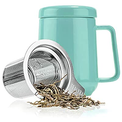 Tealyra - Peak Ceramic Turquoise Tea Cup Infuser - 19-ounce - Large Tea High-Fired Ceramic Mug with Lid and Stainless Steel Infuser - Tea-For-One Perfect Set for Office and Home Uses - 580 milliliter