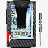 Minimalist Carbon Fiber Slim Wallet - Metal Wallet - Credit Card Holder for Men - RFID Blocking Front Pocket Wallet - Money Clip Wallet - Slim Wallet - Slim Minimalist Wallet - Zclip Front Pocket Wal