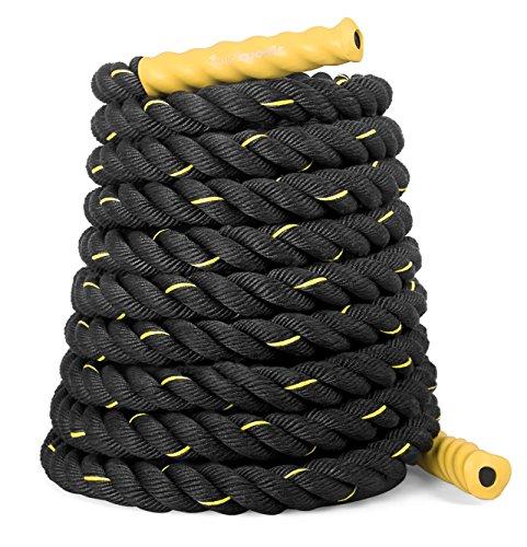 SportPlus Battle Rope, Seillänge 9 Meter, 3,8 cm Durchmesser, hochwertiges Schlagseil für Kraftausdauer & Muskelaufbau, Schwungseil für effektives Ganzkörpertraining & Functional Training, SP-BR-009