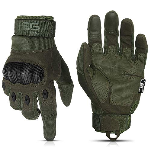Glove Station The Combat Military Police Outdoor Sports Tactical Rubber Knuckle Gloves for Men, Green, Large Size, 1-Pair