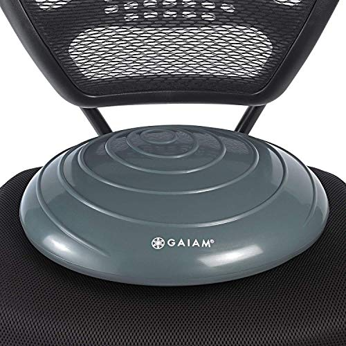Gaiam Balance Disc Wobble Cushion Stability Core Trainer For Home Or Office Desk Chair & Kids Alternative Classroom Sensory Wiggle Seat - Grey , 16...