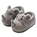 Plush Rhino Slippers Toddler Boys Girls Warm Animal Slippers Boots Kids Fuzzy Winter Indoor Bedroom Household Home Shoes(4-5 Toddler,Gray)
