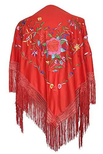 pequeño y compacto Pañuelo La Señorita bordado flamenco menton de Manila rojo con estampado floral