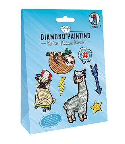 URSUS 43500005 Diamond Painting Animal, zum Gestalten von Stickern mit funkelnden Diamanten, 2 Stickerbögen 15 x 10 cm, mit verschiedenen Designs, Diamantensteine, Picker, Wachs und Schale, bunt