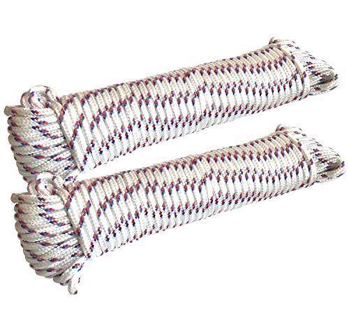 EUROXANTY Filo per stendere | Filo Stendibiancheria per esterni in nylon | Resistente al sole e alla pioggia | Corda da campeggio e da giardinaggio | 20 M | Bianco con strisce x2