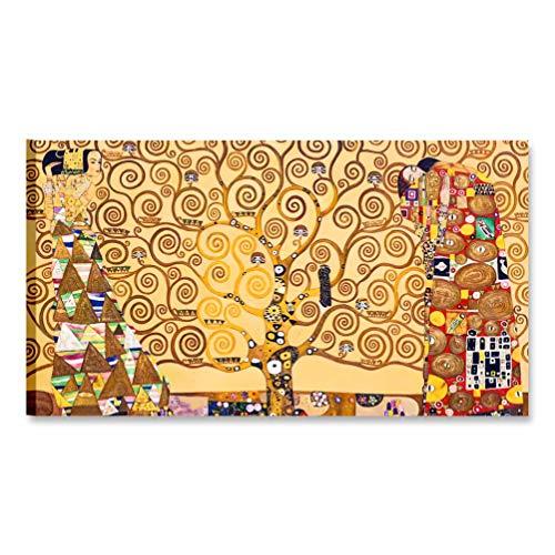 Quadri L&C ITALIA Klimt Albero della vita Quadri Moderni Soggiorno e Camera da Letto, Stampa su Tela 70 x 40