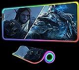 World of Warcraft Arthas vs Sylvanas Gaming Alfombrilla de ratón RGB Teclado para computadora portátil Escritorio de Oficina Bloqueado Accesorios para Juegos LED Escritorio Juegos XXL, 600x300x4 mm