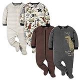 Gerber Baby Boys' 4 Pack Sleep 'N Play Footie, Red Dino, 0-3 Months