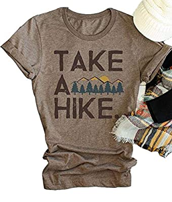 Xiaomomo Womens Take A Hike Printed Short Sleeves T-Shirt Casual Camping Hiking Graphic Tee Tops (Brown, L)