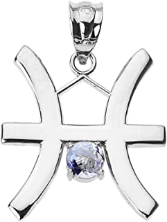 Astrology Jewelry Personalized 10k White Gold Genuine Aquamarine March Birthstone Pisces Zodiac Charm Pendant