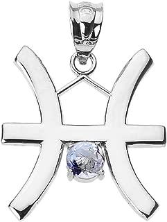 Personalized 10k White Gold Genuine Aquamarine March Birthstone Pisces Zodiac Charm Pendant