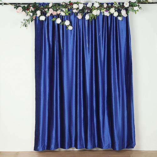 Efavormart 8Ft H x 8Ft W Premium Royal Blue Velvet Backdrop Curtain Panel Drape Background for Events