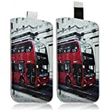 Seluxion-Funda tipo libro para LG G2, Optimus F6/Optimus F5 y L70, diseño de autobús londinense