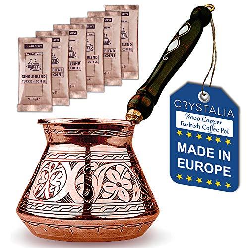 Türkische Kaffeekanne, griechisch-arabische Kaffeemaschine, dickste massive gehämmerte und gravierte Kupferkaffee Cezve mit Premium-Holzgriff (591,5 ml)