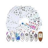 Gobesty Nail Art Stickers Autocollants à Ongles, 40 Feuilles Nail Art Stickers 3D Stickers Ongle Nail Art Noel Deco Home Stickers Manucure pour les filles femmes bricolage débutant salon de manucure