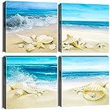 Artscope 4 Teilig Leinwandbilder mit Strandmuscheln und Meer Motiv Kunstdruck - Moderne Wandbild für Badezimmer Wohnzimmer Wanddekoration - 30 x 30 cm