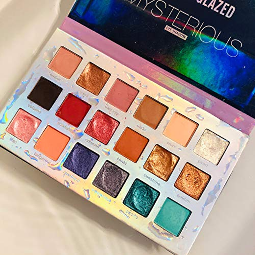 18 Colors Mercury Retrograde Palette, Ultra Pigmented Fine Pressed Eyeshadow Palette Mattes, Metallics, Glitter and Multi-reflective Pinks Blues Mysterious Powder Eye Shadow Palettes 4