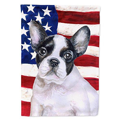 Caroline's Treasures BB9710GF French Bulldog Black White Patriotic Flag Garden Size, Small, Multicolor