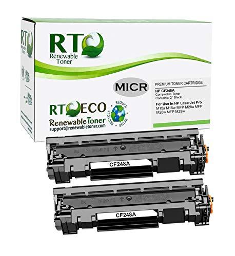Renewable Toner Compatible MICR Toner Cartridge Replacement for HP CF248A 48A Laserjet M15 M16 M28 M29 (2 Pack)