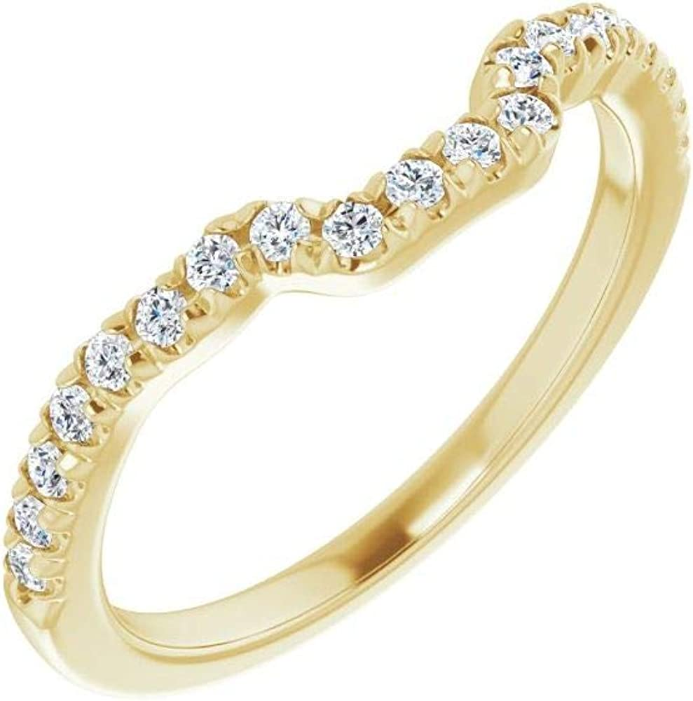Solid 14k Yellow Gold 1/2 Cttw Diamond Matching Curved Notched Wedding Band for 8x6mm Emerald Ring Guard Enhancer - Size 7 (.50 Cttw)