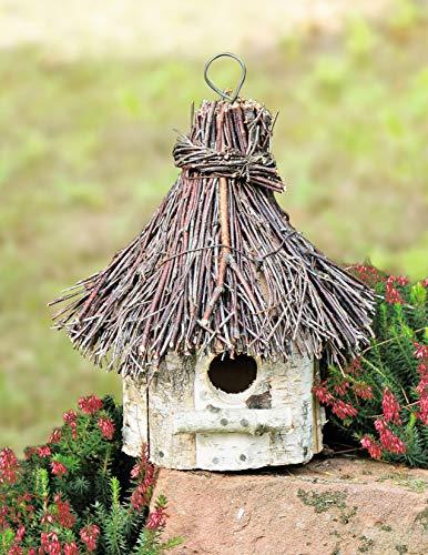 Dekoleidenschaft Vogelhaus Birke aus Holz und Reisig, rund, zum Hängen, Vogelhäuschen, Nistkasten