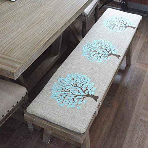 Long Solid Wood Bench Cushion,3-Seater Bench Cushions Pad,Bay Window Patio Furniture Car Back Seat,Indoor Outdoor Chair Seat Cushion,Gray-30x100x3cm-blue tree