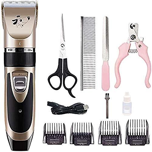 Fagavin Pet Hair Trimmer eléctrico Perros Piel Clipper Set, inalámbrico recargable y estética Juego de bajo ruido USB, kit de corte de pelo, altamente portátil, Piel de protección for perros y gatos (