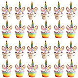 24PCS Unicornio Cupcake Topper, Decoracion Cupcake Unicornio, Fabricada a Mano para niños Pasteles de Fiesta Decoración Cumpleaños Decoración