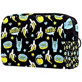 Makeup Bag Cartoon Cosmetic Pouch Printed Toiletry Travelling Bags Cosmetic Bags for Women Doodle Funny Donuts Banana Rock Stars Pattern