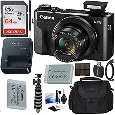 Canon PowerShot G7 X Mark II Digital Camera (Black) with Extreme Electronics Bundle - Includes: 64GB SDXC Memory Card, 1x Replacement Battery, Carrying Case & More by Extreme Electronics