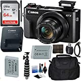 Canon PowerShot G7 X Mark II Digital Camera (Black) with Extreme Electronics Bundle - Includes: 64GB SDXC Memory Card, 1x Replacement Battery, Carrying Case & More