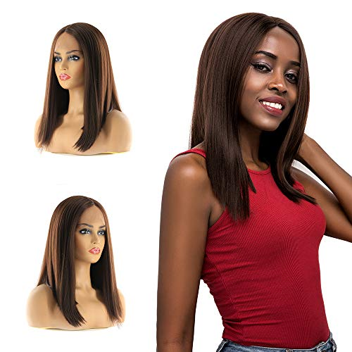 X-TRESS 14 inch Lace Front Wigs Short Bob Yaki Straight Flawless Headline Natural Brown Glueless Middle Part Pre-plucked Wig with Baby Hair Hand Tied Heat Resistant Synthetic Fiber Wigs For Women