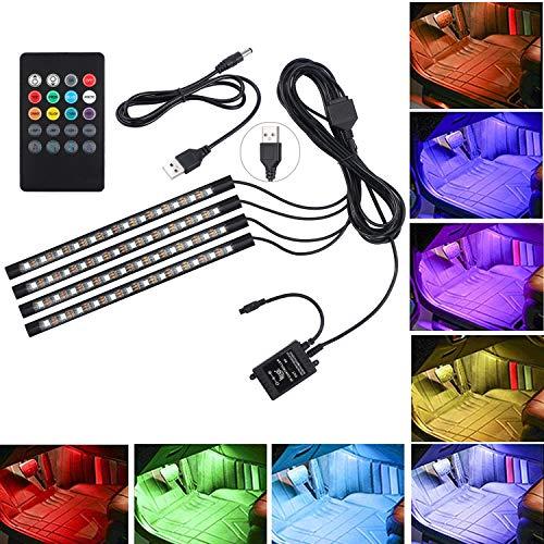 Justech 4PCS 48LEDs Bande Lumineuse Lumières Musique Multicolore Intérieur RGB SMD 48 Lumières d'Ambiance de Voiture avec Fonction de Son et Télécommande sans Fil pour Voiture TV Maison-USB Port