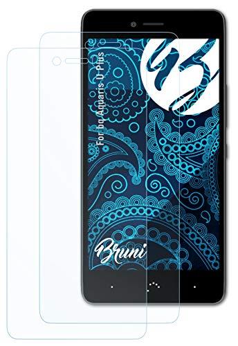 Bruni Schutzfolie kompatibel mit bq Aquaris U Plus Folie, glasklare Bildschirmschutzfolie (2X)