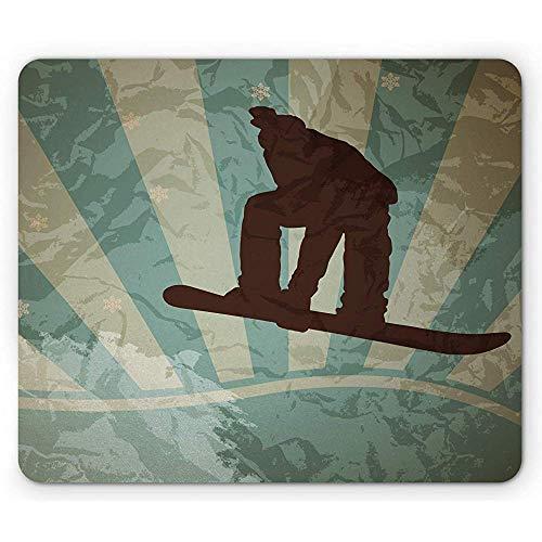Snowboard-Mausunterlage, zweifarbiger Hintergrund in der Schmutz-Art Mousepad, Seafoam Pale Khaki Brown