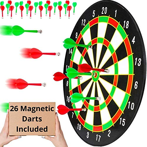 BETTERLINE Magnetic Dartboard Set with 26 Darts - 16 Inch Dart Board - Safe for Kids and Adults - Gift for Game Room, Office, Man Cave and Parties