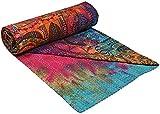 Charoli Enterprises Baumwolldecke, Kantha, handgefärbt, indisches Patchwork, Batik, mehrfarbig, bedruckt, Bohemian-Tagesdecke, indische Baumwolle, Quilts Dekor 90'' x 60'' Inches Bunt