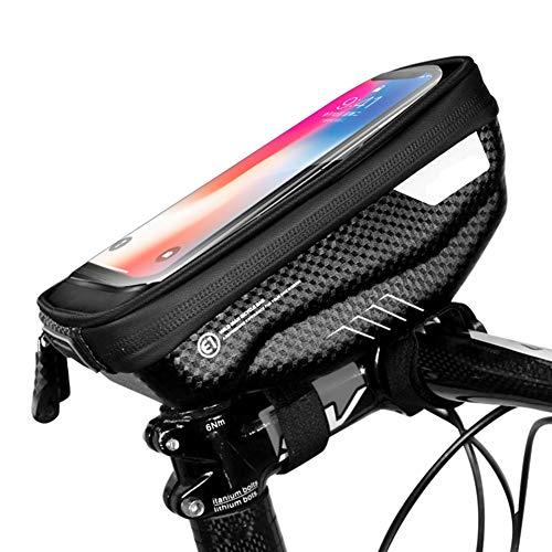 Bike Frame Bag, Waterproof Bicycle Accessories with TPU Touch Screen Headphone Hole Large Capacity Suitable for Smartphones Under 6.5 Inches,Black