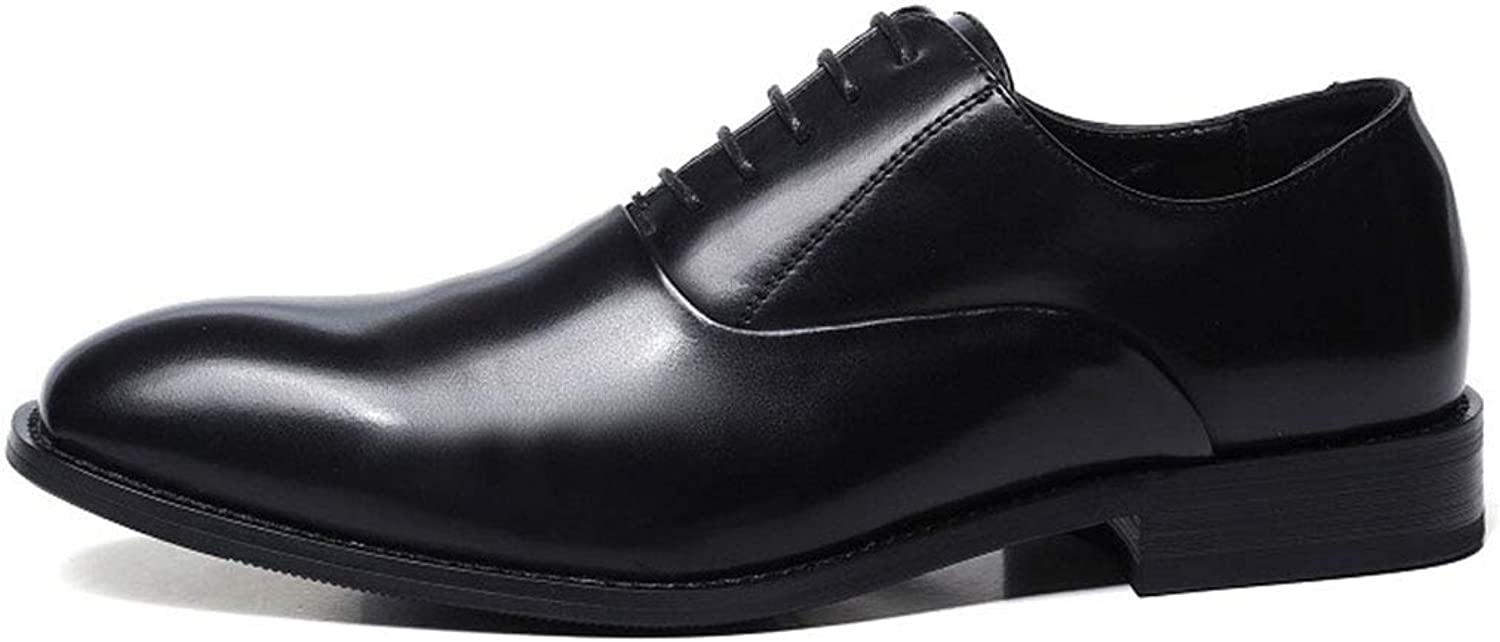 Business shoes Mens Dress Oxfords Leather Pointed Toe Derby Lace Up Oxford Wedding Fashionable Office Vintage Flat,Black,39