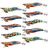 Artificiales Señuelos de Calamar Camarón Set Cebo de Pesca Señuelos de Camarones de Madera Señuelos Duros con Anzuelo para Pulpo Sepia