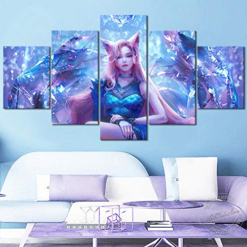 IGZAKER KDA All Out Ahri Leinwand Malerei LOL Spiel Poster Sexy Mädchen Wandkunst Bild Home Decor Spiel Figur 30x40 30x60 30x80cm (kein Rahmen)