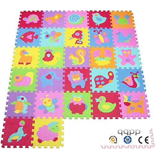 qqpp Alfombra Puzzle para Niños Bebe Infantil - Suelo de Goma EVA Suave. 27 Piezas (30*30*0.9cm), AnimalesQQP-101119a27N.