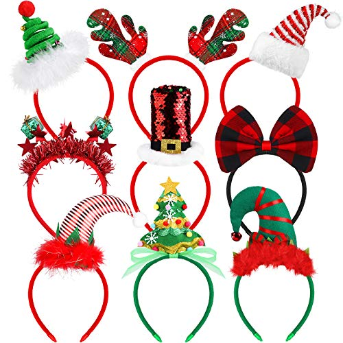 Elcoho 9 Pack Assortment Christmas Headbands Christmas Party Toys Hats Costume Reindeer Santa Headbands for Christmas Holiday Party, 9 Styles