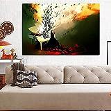 SADHAF Pintura al óleo abstracta piano de mujer psicodélico fuego pintura HD impresión en lienzo póster de pared imagen sala de estar decoración A2 40x50cm